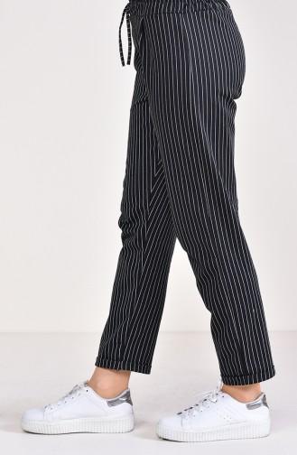 Çizgili Pantolon 1329-02 Siyah
