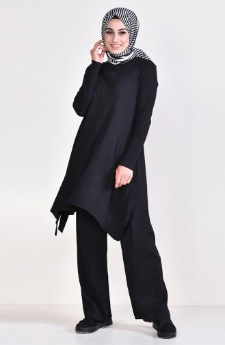 Fitilli Triko Tunik Pantolon İkili Takım 3309-01 Siyah