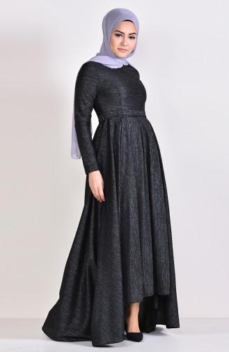 Simli Kuşaklı Asimetrik Elbise 4266-02 Siyah