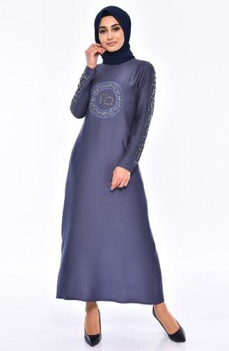 Steinbedrucktes Kleid mit Perlen 0171-04 Indigo 0171-04