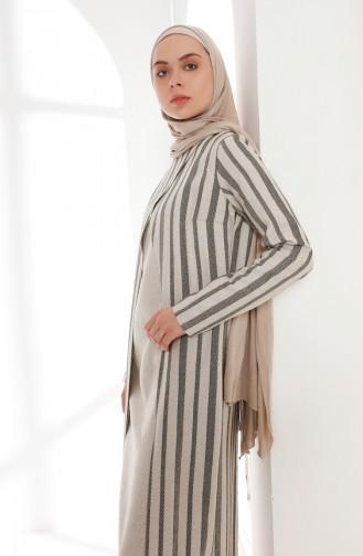 Oyya Suit Looking Linen Dress 9004-02 Khaki 9004-02