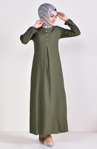 Viskon Düğme Detaylı Elbise 9012-06 Yeşil 9012-06