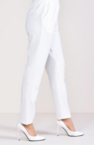 Pantalon Taille élastique 1030-08 Ecru 1030-08