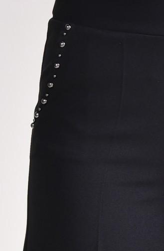 Cep Detaylı Bol Paça Pantolon 3135-03 Siyah