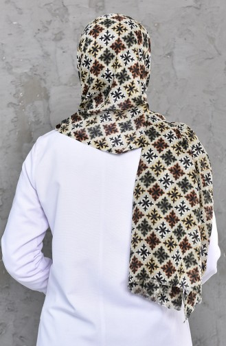 Patterned Cotton Shawl 24755-03 light Khaki 24755-03