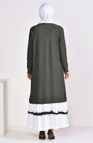 Ruffle Detail Dress 3087-01 Khaki 3087-01