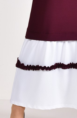 Ruffle Detail Dress 3087-04 dark plum 3087-04
