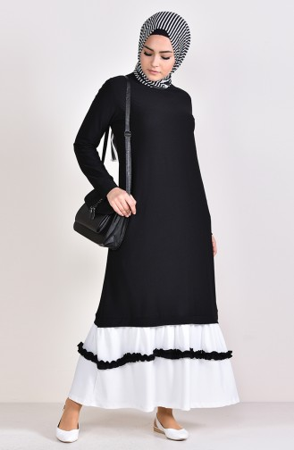 Ruffle Detail Dress 3087-05 Black 3087-05