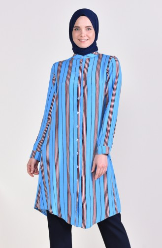 Viscose Striped Long Tunic 3313-01 Blue 3313-01