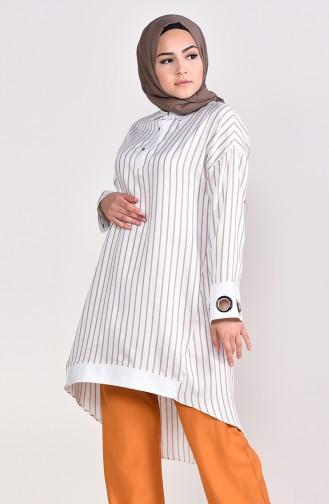 Tunique a Rayures 3006-01 Blanc Vison 3006-01