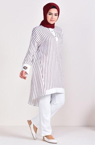 Striped Tunic 3006-02 White Purple 3006-02