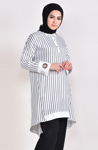 Çizgili Tunik 3006-04 Beyaz Siyah 3006-04