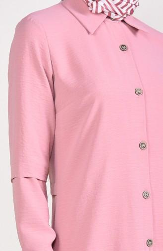 Aerobin Fabric Buttoned Asymmetric Tunic 0889-02 Powder 0889-02