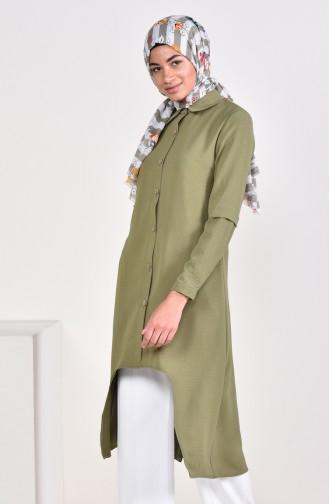 Aerobin Fabric Buttoned Asymmetric Tunic 0889-07 Khaki 0889-07