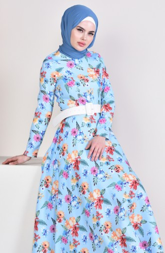 Flower Patterned Arched Dress 1025-02 Baby Blue 1025-02