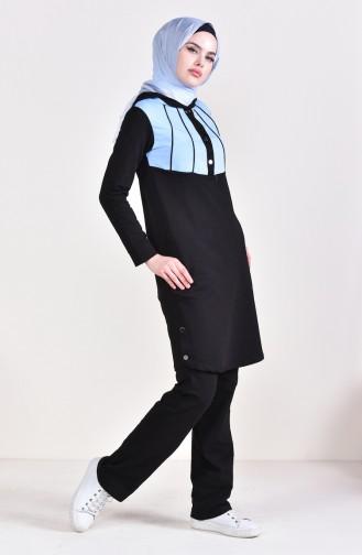 بدلة رياضية 1420-01 لون اسود وازرق 1420-01