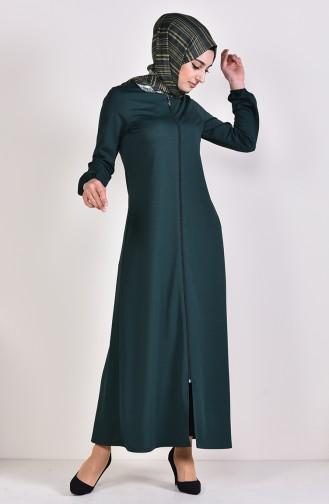 Abaya a Fermeture Manches élastique 3051-05 Vert emeraude 3051-05