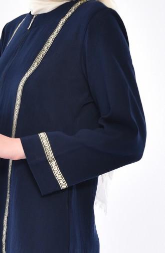 Cotton Gauze Zippered Abaya 0600-01 Navy Blue 0600-01