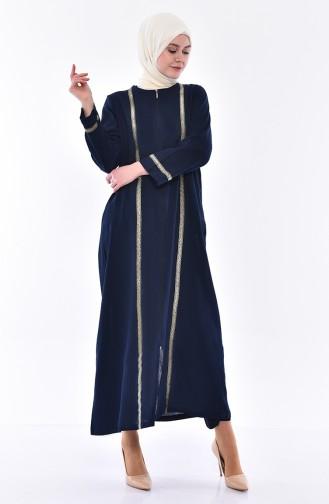 Abaya mit Reissverschluss  0600-01 Dunkelblau 0600-01