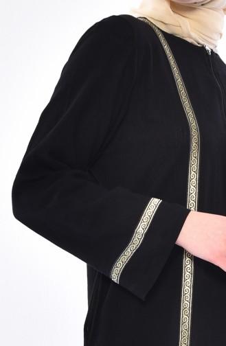 Cotton Gauze Zippered Abaya 0600-02 Black 0600-02