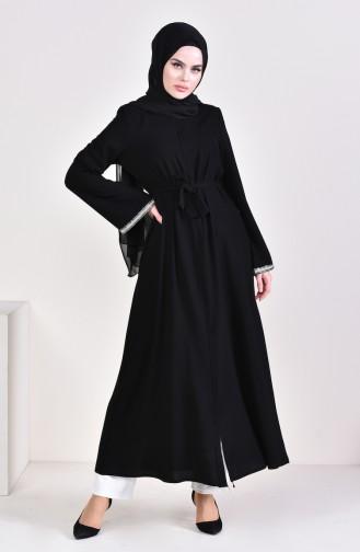 Belted Abaya 7827-02 Black 7827-02