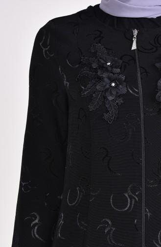 Çiçek Aplikeli Jakarlı Ferace 1701-01 Siyah 1701-01