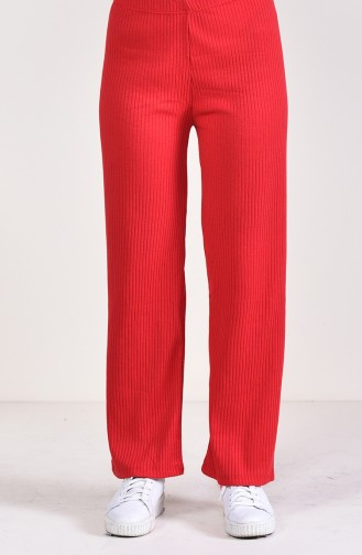 Ribbed Wide Leg Pants 5004-02 Red 5004-02
