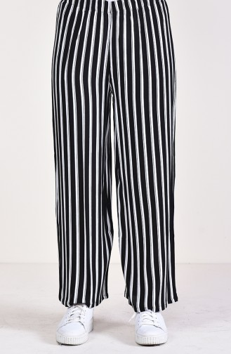 Pantalon Large a Rayures 25002-02 Noir 25002-02
