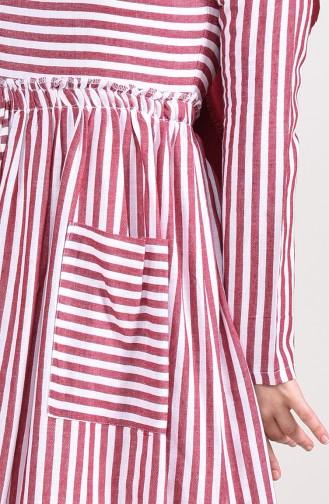 Robe en Lin a Rayures 81688-02 Bordeaux 81688-02