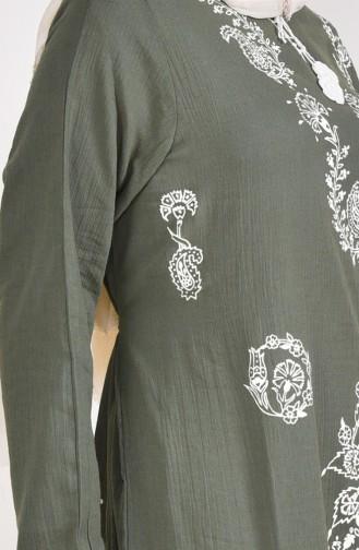 Robe a Motifs 0004-07 Vert Khaki 0004-07