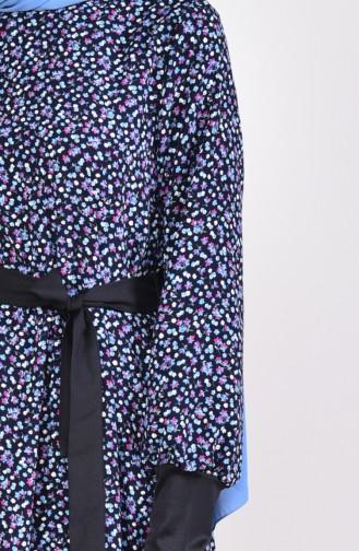 Çiçek Desenli Kuşaklı Elbise 2061-01 Lacivert 2061-01