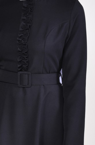 Fırfırlı Kemerli Elbise 3207-02 Siyah 3207-02