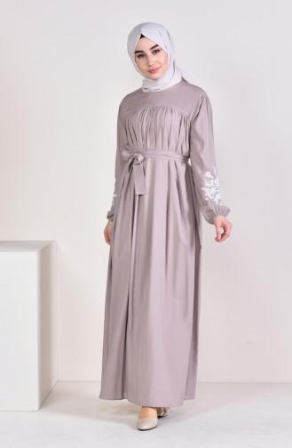 Minahill Sleeve Embroidered Pleated Dress 10123-05 Mink 10123-05