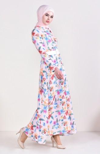 Robe a Motifs et Ceinture 1025-03 Poudre 1025-03