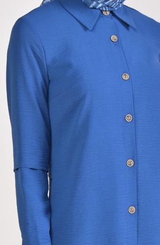 Aerobin Fabric Buttoned Asymmetric Tunic 0889-01 Indigo 0889-01