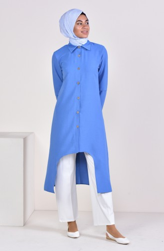 Aerobin Fabric Buttoned Asymmetric Tunic 0889-05 Blue 0889-05