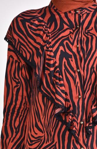 Zebra Desenli Fırfırlı Tunik 4154-01 Kiremit