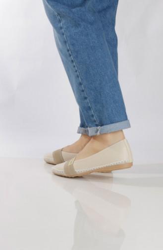 Beige Woman Flat Shoe 94410-0