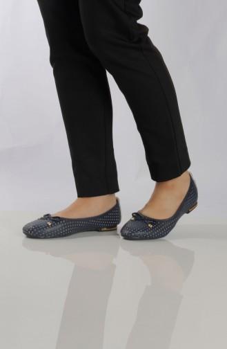 Women´s Flat Shoes (Ballerina ) 96504-4 Navy Blue 96504-4