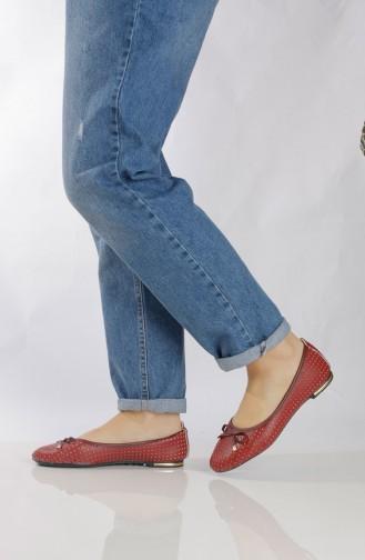 حذاء مُسطح نسائي (باليرينا ) 96505-5 لون خمري 96505-5