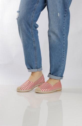 Red Woman Flat Shoe 7710-0