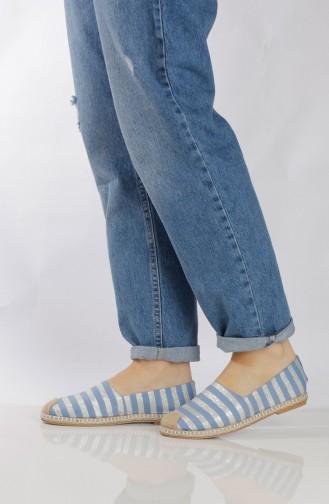 Blue Woman Flat Shoe 7711-1
