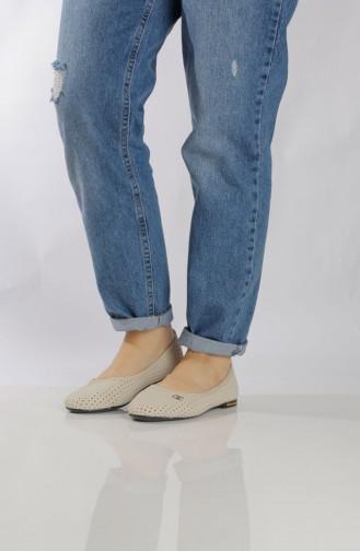 Women´s Flat Shoes (Ballerina ) 95501-1 Cream 95501-1