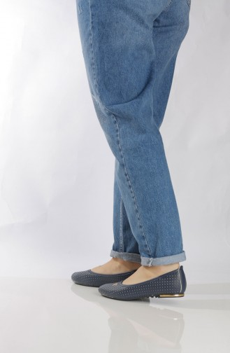 حذاء مُسطح نسائي (باليرينا ) 95504-4 لون كحلي 95504-4