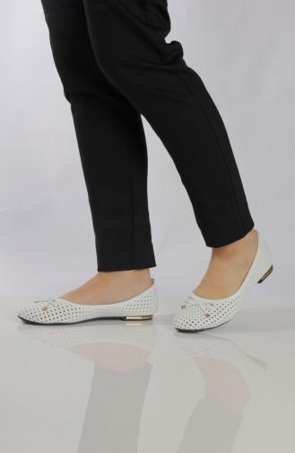 Women´s Flat Shoes (	Ballerina ) 96500-0 White 96500-0