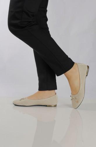 Women´s Flat Shoes (Ballerina ) 96502-2 Cream 96502-2