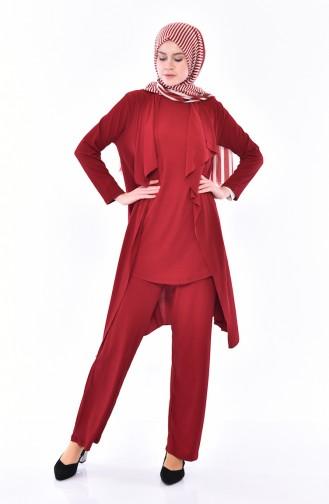Seasonal 3 Pcs Blouse Suit 0113-08 Claret Red 0113-08