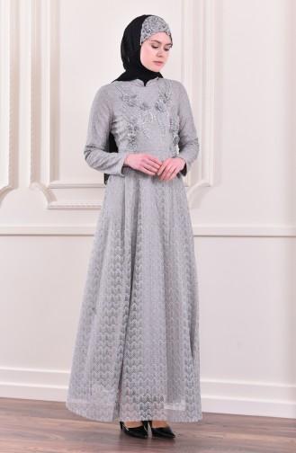 فستان بتفاصيل لامعة 8996-02 لون رمادي 8996-02