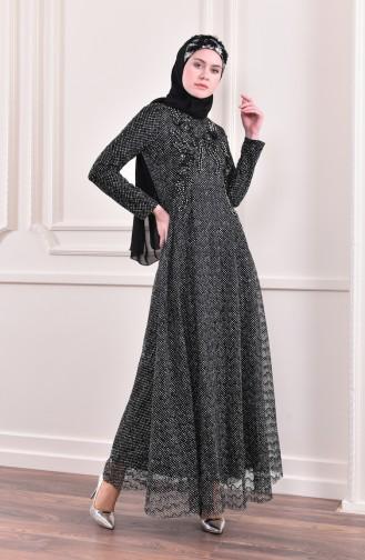 Robe de Soirée a Paillettes 8996-04 Noir 8996-04