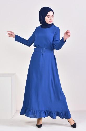 Büzgülü Kemerli Elbise 1656-02 İndigo 1656-02